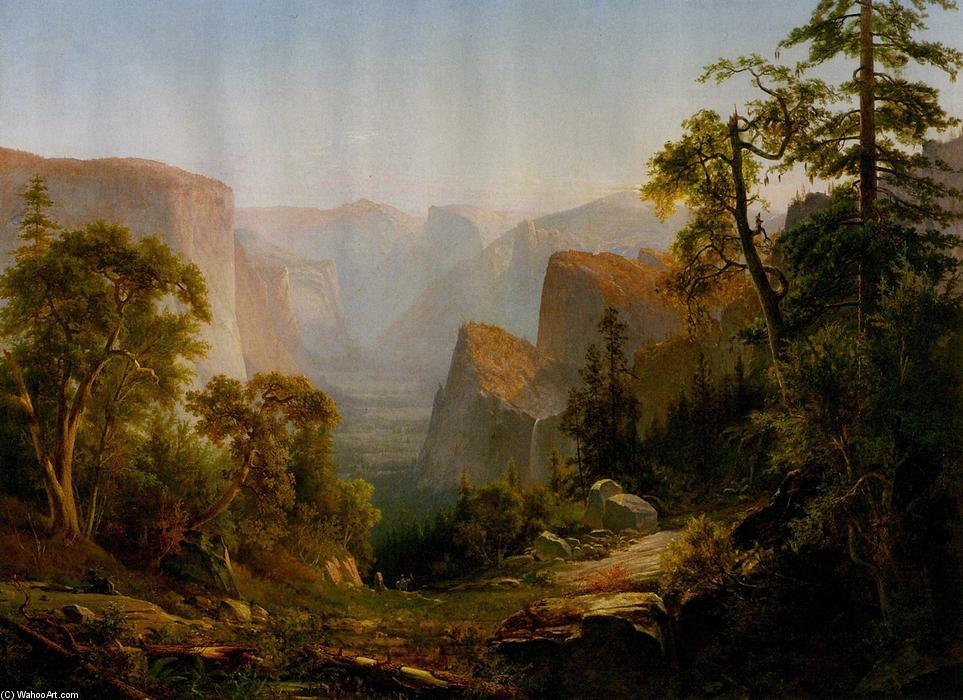 visto do vale de Yosemite  dentro de  Califórnia , óleo sobre tela por Thomas Hill (1829-1908, United Kingdom)