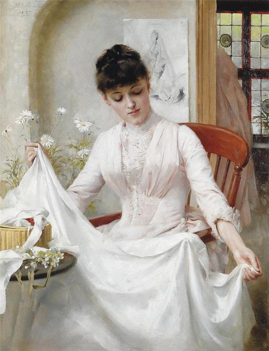 o casamento vestir por Thomas Benjamin Kennington (1856-1916, United Kingdom)