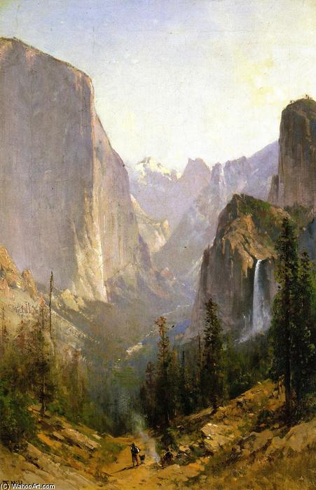 Yosemite Cachoeira, óleo sobre tela por Thomas Hill (1829-1908, United Kingdom)