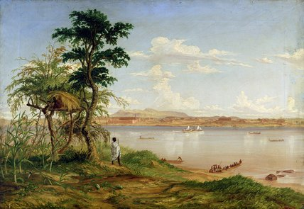 Cidade de Tete a partir da costa norte do Zambeze por Thomas Baines (1820-1875, United Kingdom)