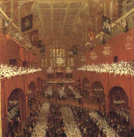 Os soberanos aliados banquete no Guildhall por Thomas And William Daniell (1769-1837, United Kingdom)