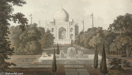 o taje mahel , vista jardim , Agra por Thomas And William Daniell (1749-1840, United Kingdom)