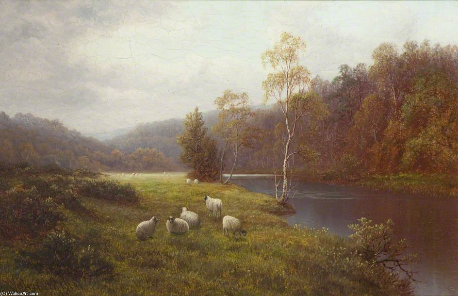 Rio Wharfe por William Mellor (1851-1931, United Kingdom)