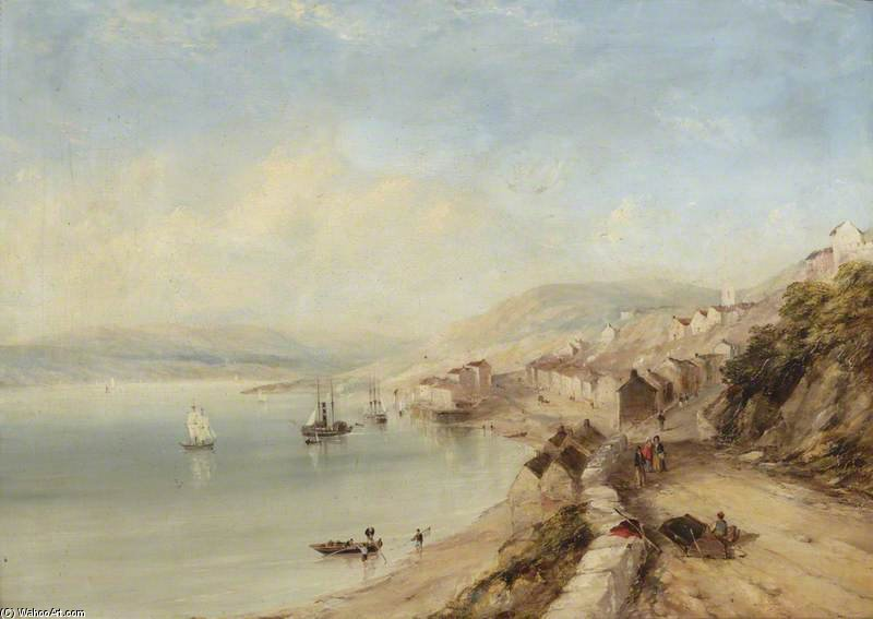 A Lakeside Village por John Wilson Carmichael (1800-1868, United Kingdom)