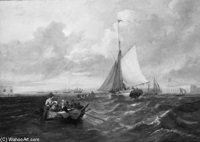 Transportando Across The Harbour boca em Portsmouth por John Wilson Carmichael (1800-1868, United Kingdom)