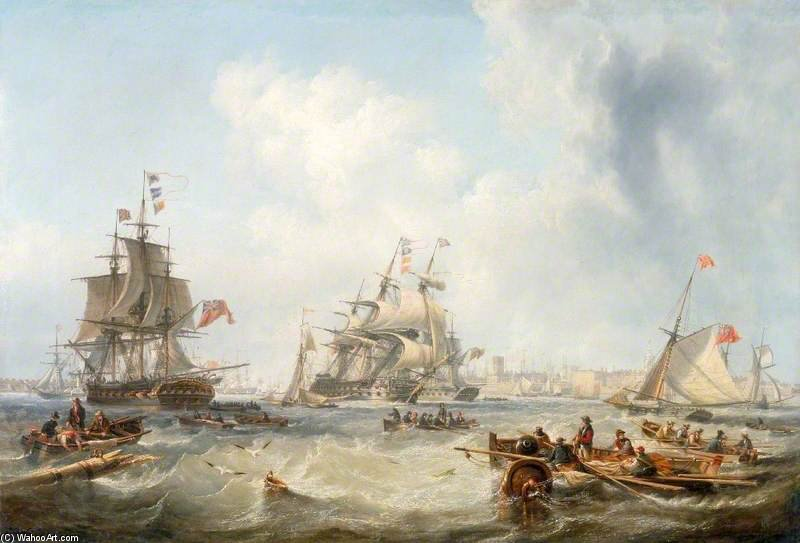 Men-of-war Fora Portsmouth Porto por John Wilson Carmichael (1800-1868, United Kingdom)