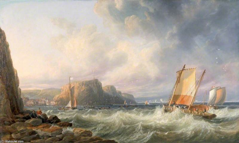 Off The Yorkshire Coast, Staithes por John Wilson Carmichael (1800-1868, United Kingdom)