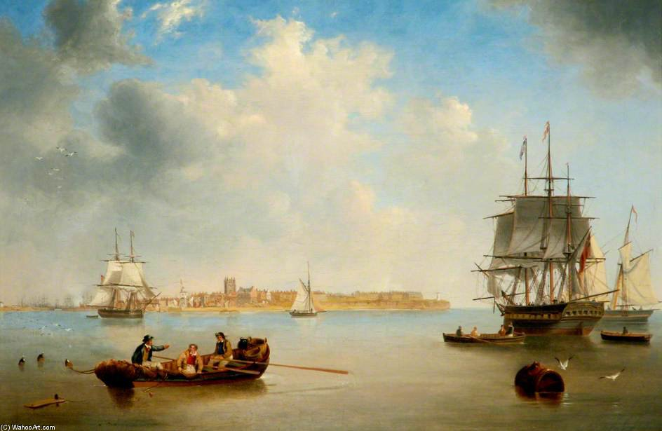 Old Hartlepool, Tees Valley por John Wilson Carmichael (1800-1868, United Kingdom)