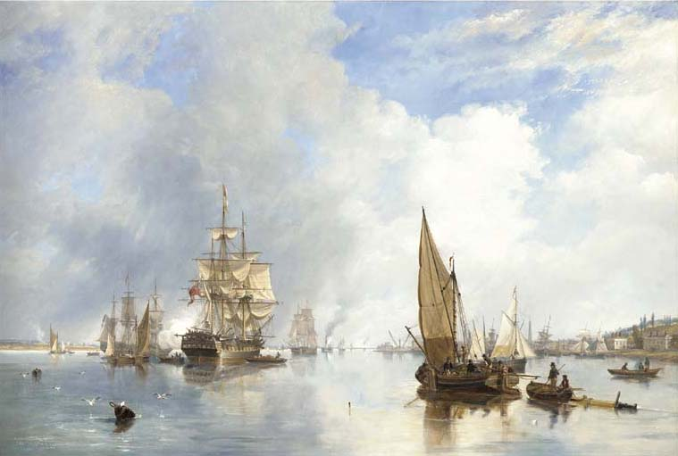 A Tamisa em Woolwich, com o Buckinghamshire Indiaman Going Down The River por John Wilson Carmichael (1800-1868, United Kingdom)