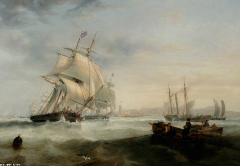 Expedição Off Hartlepool, Tees Valley por John Wilson Carmichael (1800-1868, United Kingdom)