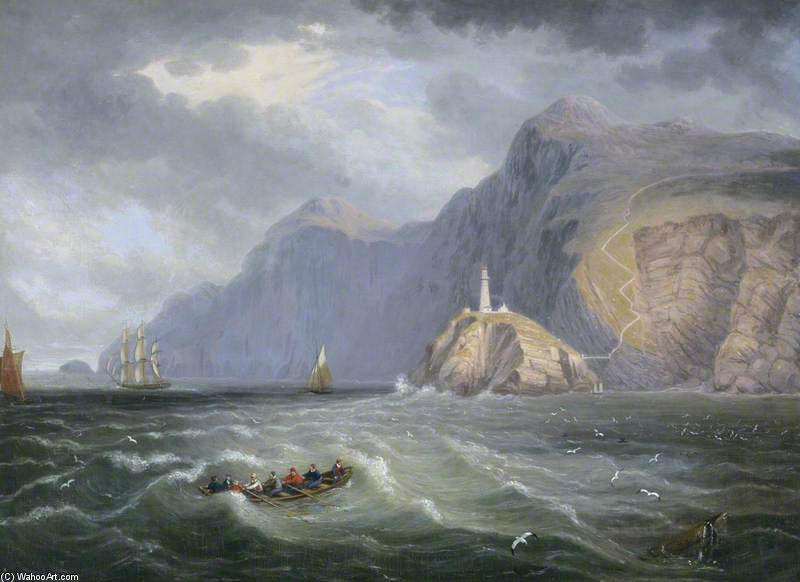 South Stack Rock, Holyhead por John Wilson Carmichael (1800-1868, United Kingdom)