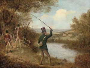 Samuel John Egbert Jones - Uma Fly-fisherman lançand..