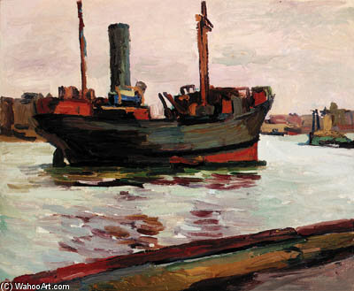 Tanker On The Thames por Duncan Grant (1885-1978, Scotland)