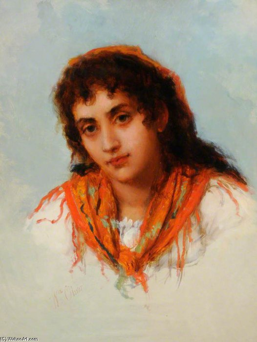 A Gipsy por William Oliver (1805-1853, United Kingdom)