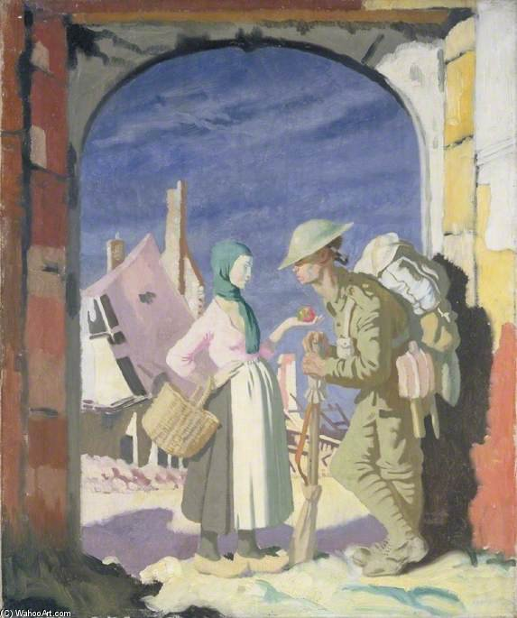 adam e véspera na `péronne` por William Newenham Montague Orpen (1878-1931, Ireland)