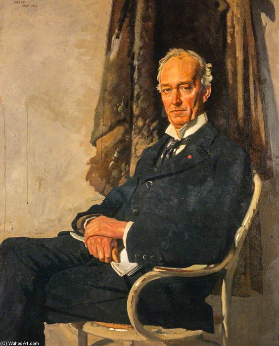 George Allardice, 1º Barão de Riddell Of Walton Heath, proprietário de jornais E diarista por William Newenham Montague Orpen (1878-1931, Ireland)