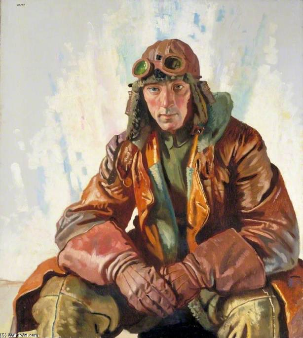 O não-comissionado oficial Piloto, Royal Flying Corps por William Newenham Montague Orpen (1878-1931, Ireland)