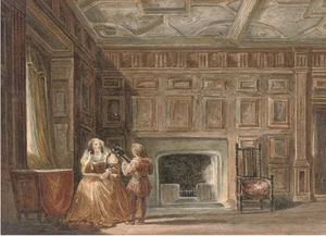 Joseph Nash The Younger - Um apartamento no Haddon Hall, Derbyshire