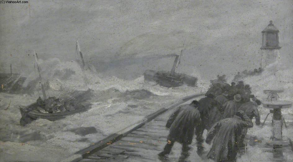 Lifeboat sendo rebocado Out Of Yarmouth Harbour por Joseph Nash The Younger (1835-1922, United Kingdom)
