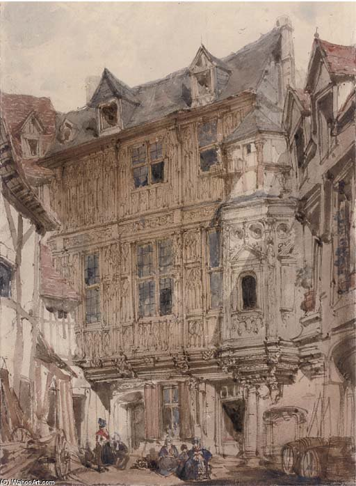 Backstreets de Rouen por Joseph Nash The Younger (1835-1922, United Kingdom)