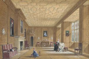 Joseph Nash The Younger - oak room at broughton castelo perto banbury , Oxfordshire