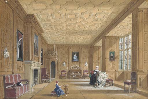 oak room at broughton castelo perto banbury , Oxfordshire por Joseph Nash The Younger (1835-1922, United Kingdom) | ArtsDot.com