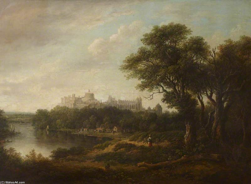 vista de castelo de windsor do Rio Thames por Patrick Nasmyth (1787-1831, United Kingdom)