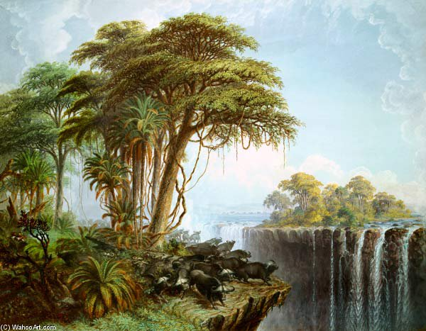 Búfalos Driven To The Edge Of The Chasm Opposite Island Garden, Victoria Falls por Thomas Baines (1820-1875, United Kingdom)