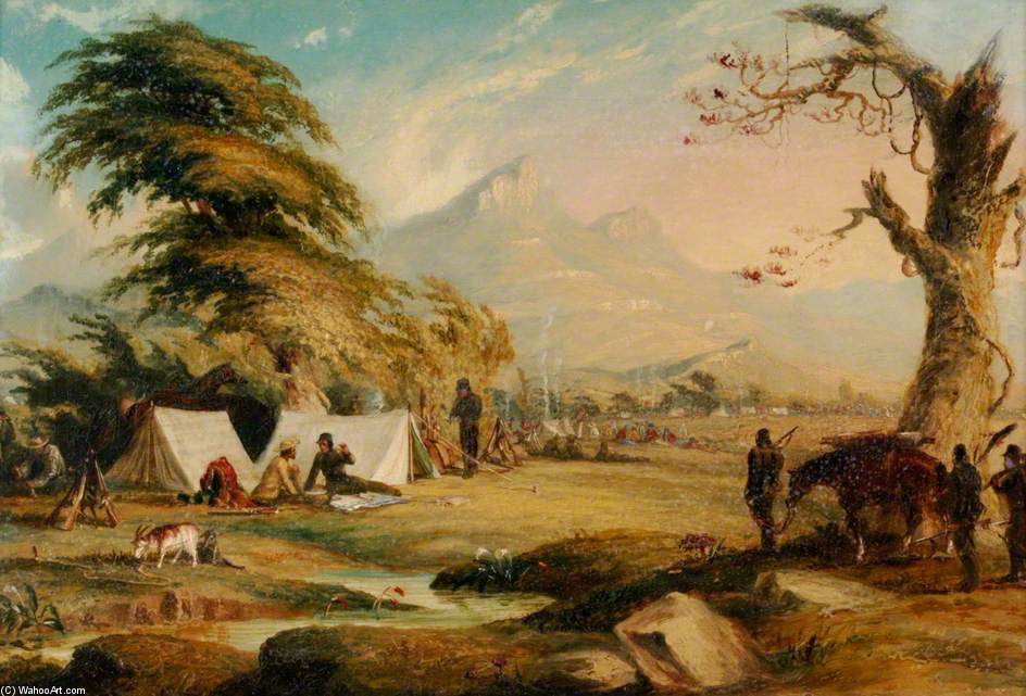 acampar cena por Thomas Baines (1820-1875, United Kingdom)