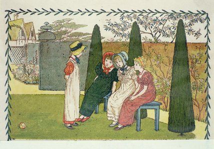 no jardim por Kate Greenaway (1846-1901, United Kingdom)
