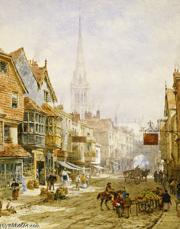 A High Street, Salisbury por Louise Rayner (1832-1924, United Kingdom)