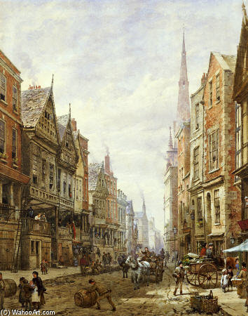 Watergate Street, Chester por Louise Rayner (1832-1924, United Kingdom)