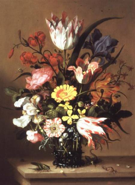 flores em a vaso por Jacob Marrel (1614-1681, Germany)