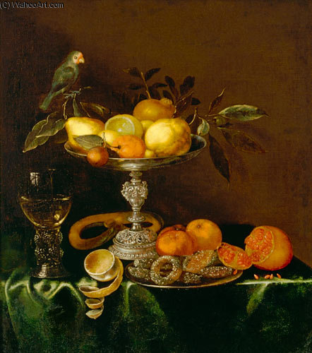 Quiet Life Com Roman, Prata Tazza, frutas, doces e pássaro por Jacob Marrel (1614-1681, Germany)