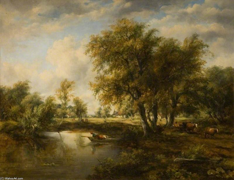 paisagem com um riacho por Frederick Waters (William) Watts (1800-1870, United Kingdom)