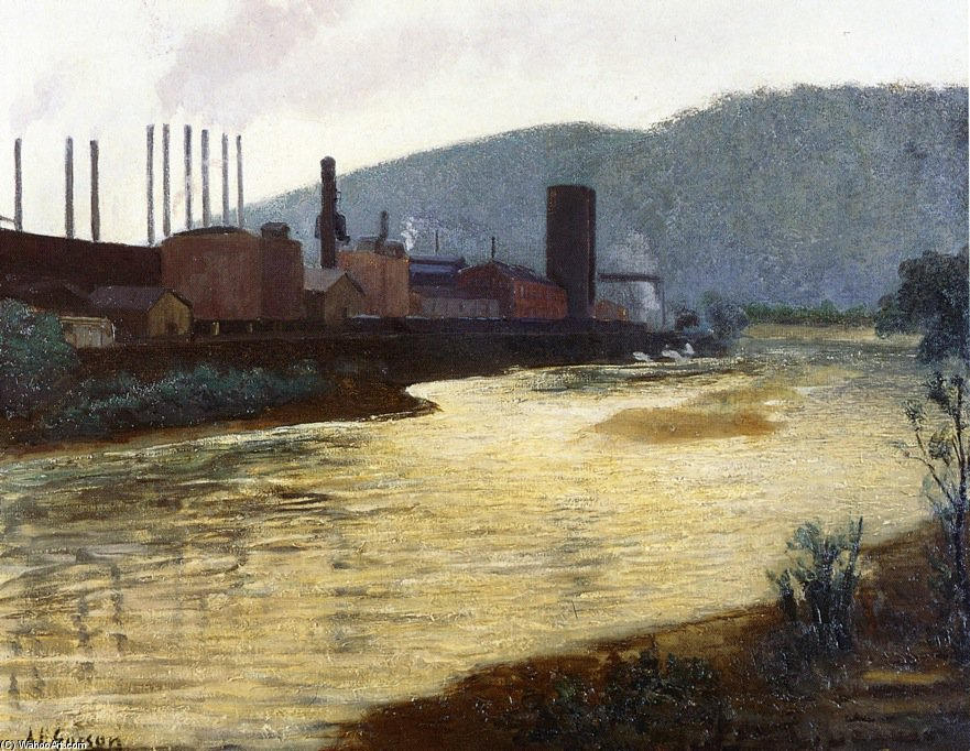 Monongahela River, Pittsburgh, Jones e Laughlin Steel Plant por Aaron Harry Gorson (1872-1933, Lithuania)