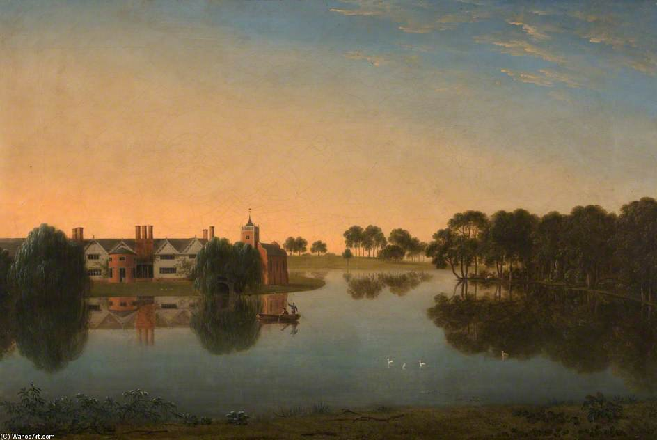 Tabley - The Old Hall Across The Mere por Anthony Devis (1729-1816, United Kingdom)