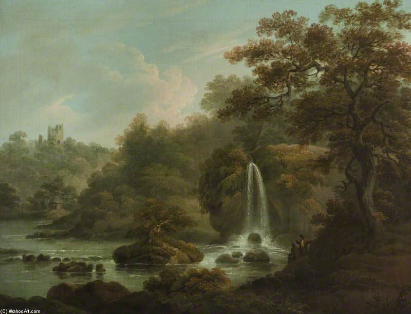 The Weeping Rocha Uma cachoeira em Hackfall perto de Ripon, West Riding of Yorkshire por Anthony Devis (1729-1816, United Kingdom)