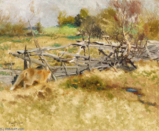 Fox By The Fence por Bruno Andreas Liljefors (1860-1939, Sweden)