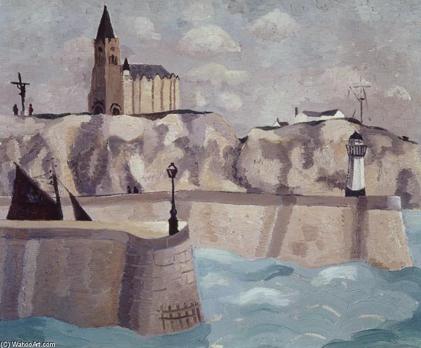 Igreja no cliff , Dieppe por Christopher Wood (1901-1930, United Kingdom)