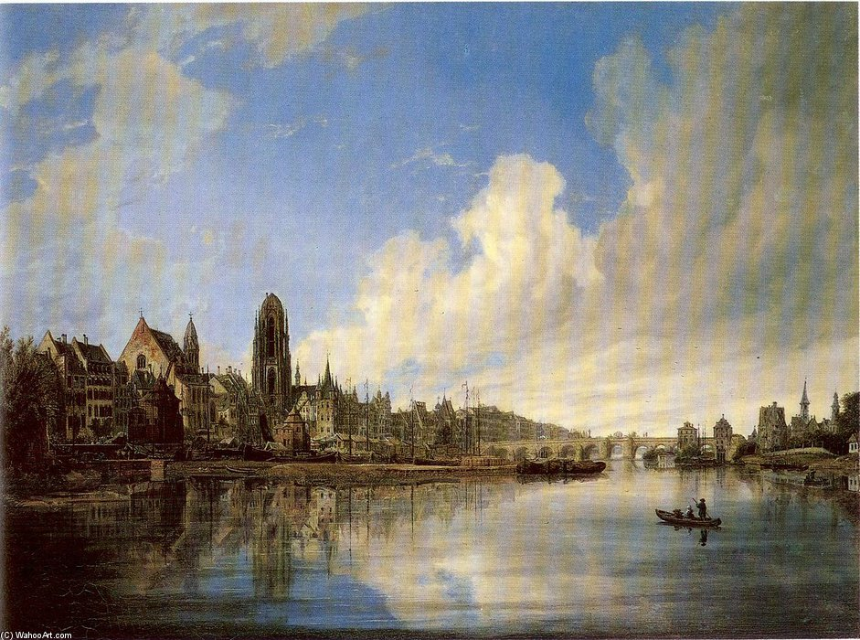 Vista Of o city Of Frankfurt do West por Domenico Quaglio (1787-1837, Italy)