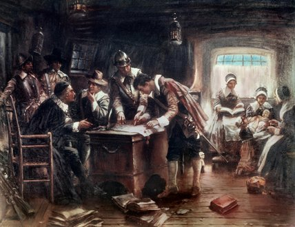 A assinatura do Mayflower Compact por Edward Percy Moran (1829-1901, United Kingdom)
