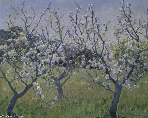 Spring In The Orchard por Elioth Gruner (1882-1939, New Zealand)