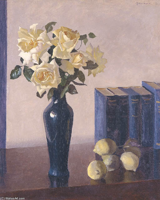 rosas amarelas por Elioth Gruner (1882-1939, New Zealand)