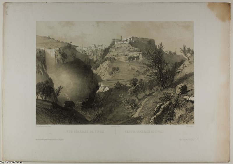 Vista geral do Tivoli por Eugène Cicéri (1813-1890, France)