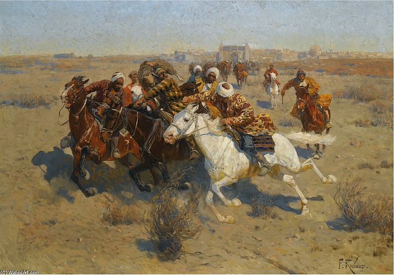 A Game Of Buzkashi por Francois Flameng (1856-1923, France)