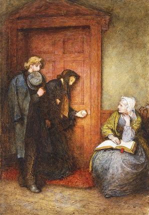 Na porta do doente por Frederick Walker (1840-1875, United Kingdom)