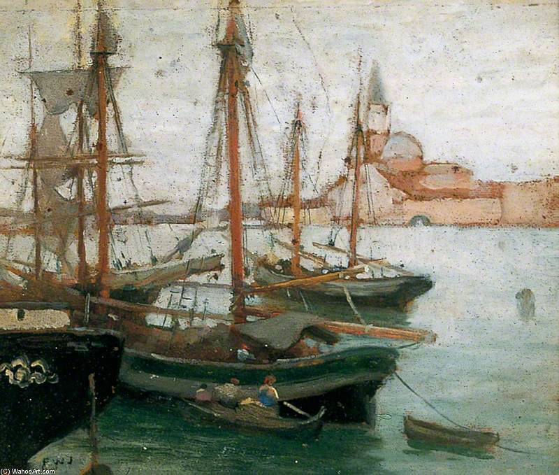 navios dentro de  Veneza  por Frederick William Jackson (1859-1918, United Kingdom)