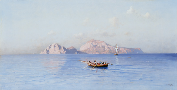 contemplar Capri Of do norte Side por Friedrich Nerly (1808-1878, Germany)