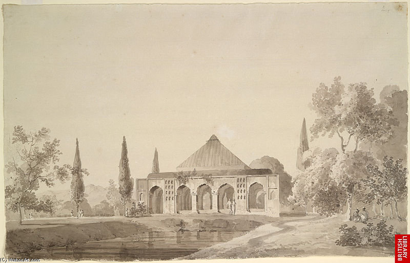 Jardim de Jahangir Khan, Najibabad por Thomas And William Daniell (1769-1837, United Kingdom)